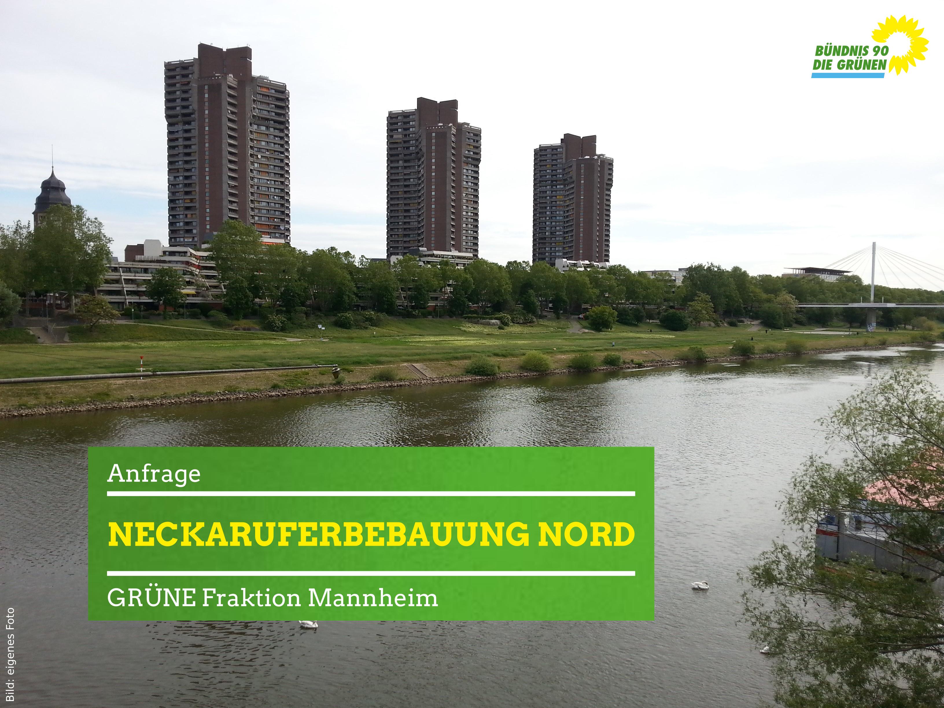 Blick von der Kurpfalzbrücke auf die Neckaruferbebauung Nord