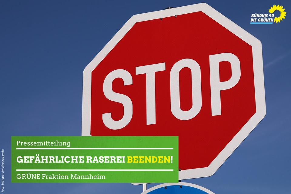 Stoppschild und Aufschrift Gefährliche Raserei beenden!