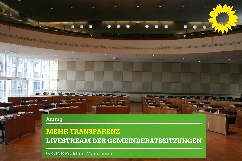 Blick in den leeren Ratssaal der Stadt Mannheim