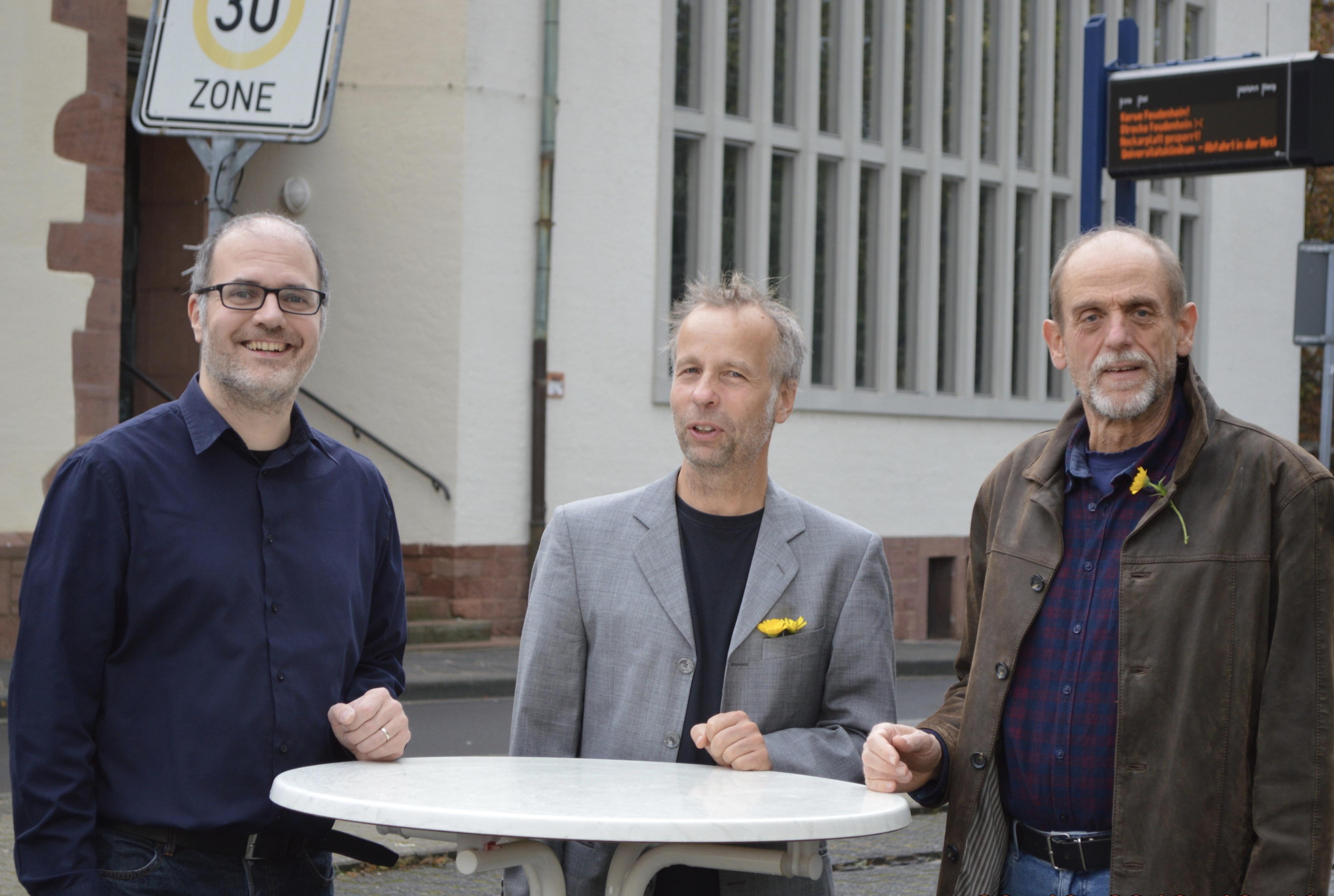 Foto der drei GRÜNEN Bezirksbeiräte in Feudenheim