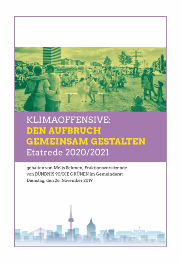 Titelbild der GRÜNEN Etatrede 2020 / 2021
