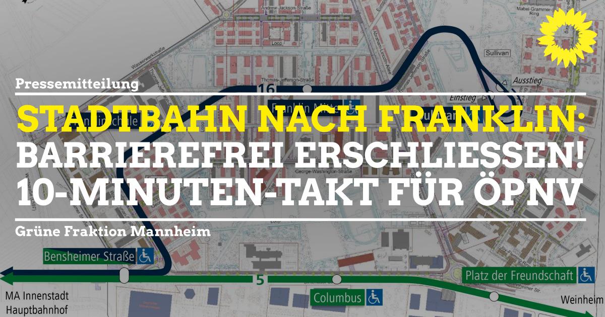 Plan mit Linienführung Stadtbahn nach Franklin