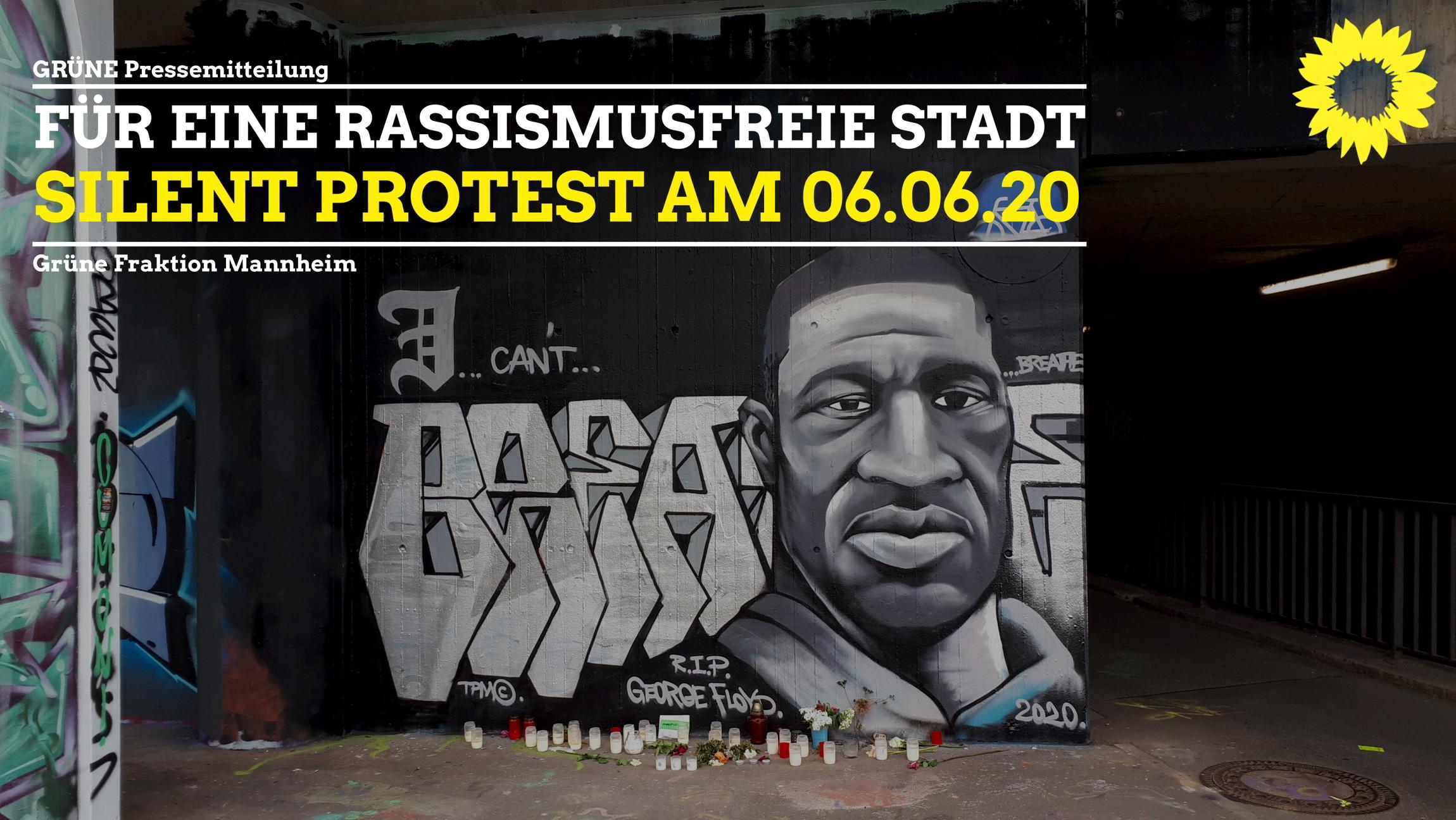 Graffiti von George Floyd an einer Unterführung in Mannheim