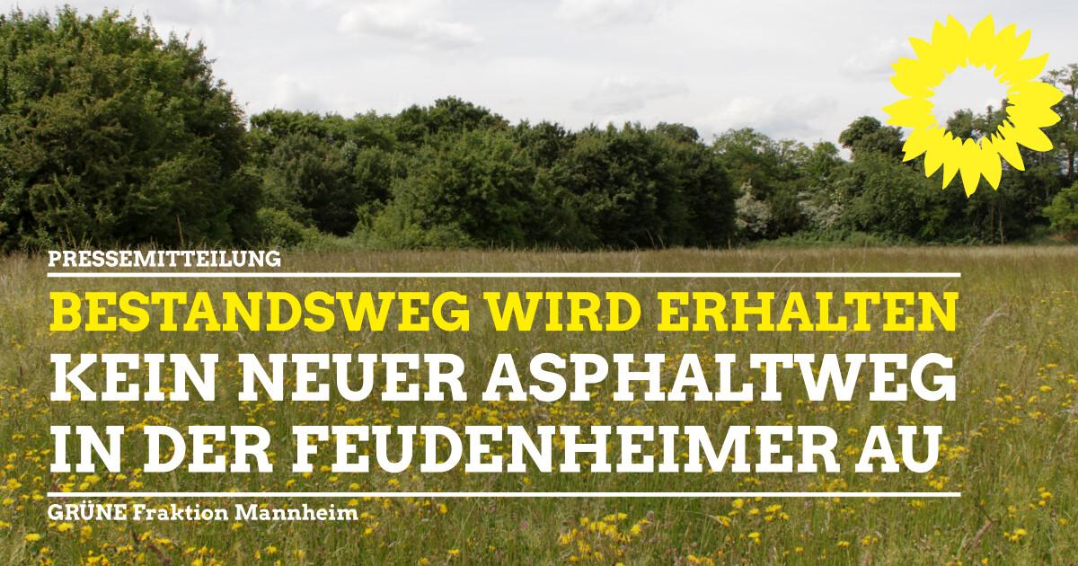Kein neuer Asphaltweg in der Feudenheimer Au - Erhalt des schon bestehenden Weges